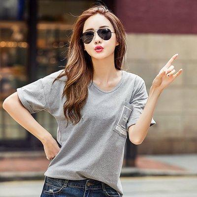 =EZZ=3181蒙麗韓國首爾 時尚精品 東大門同步  S碼~2XL碼 夏裝寬鬆V領純色蝙蝠袖純棉短袖t恤上衣