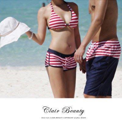 條紋繞頸後綁帶三件式泳衣【O2237】☆雙兒網☆海邊必備可搭配隱形胸罩