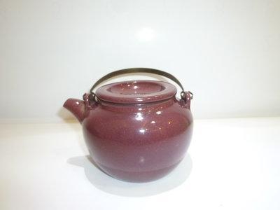 茶壺.紫砂壺.朱泥壺.手拉坯壺/早期內紫外釉蛋包提樑壺