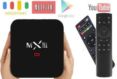 免越獄 八核4K 5G WiFi網路電視盒 64位元 MXIII + Google語音體感搖控 +HDMI-AV轉換器