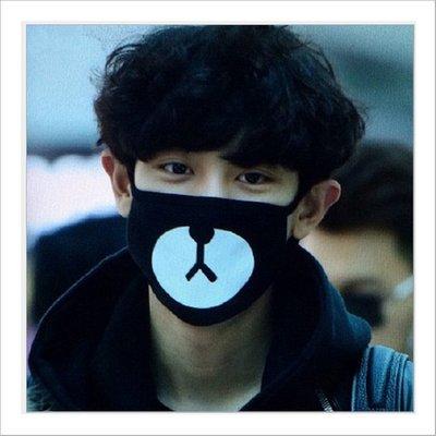 [星萌][預購]k002  exo樸燦烈同款口罩機場街拍同款小熊防塵棉口罩