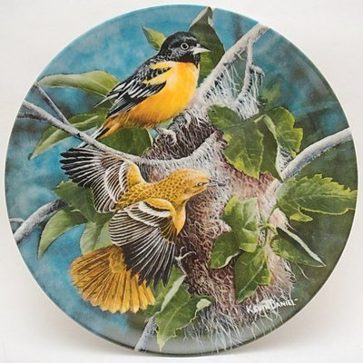 【timekeeper】  美國製Knowles大英百科全書22公分鳥類盤飾(金鷹)(單盒全)(免運)