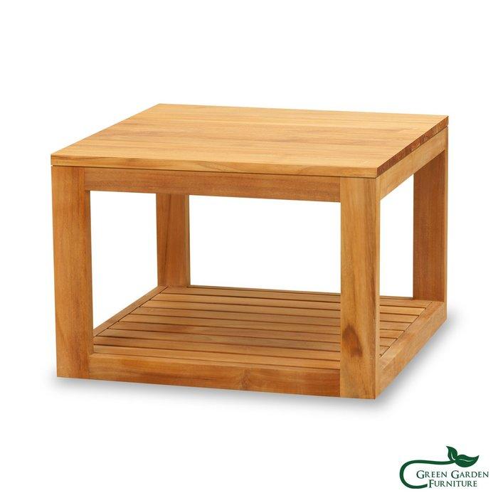 墨西哥 柚木邊桌-56(上平下條/原色)【大綠地家具】100%印尼柚木實木/無上漆原木款/實木邊几