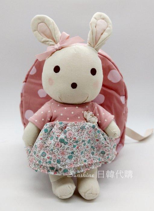 現貨 韓國正品 Wing House 粉色 花花裙 兔子娃娃 兔寶寶 防走失包 後背包 背包