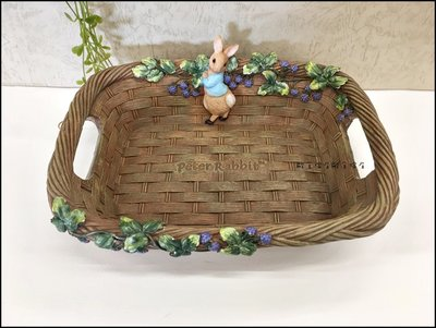 比得兔系列 立體藍莓兔子方形水果盤 彼得兔波麗製雙耳仿藤編 可愛動物風糖果盤桌上收納盤發票鑰匙點心盤置物盤【歐舍傢居】