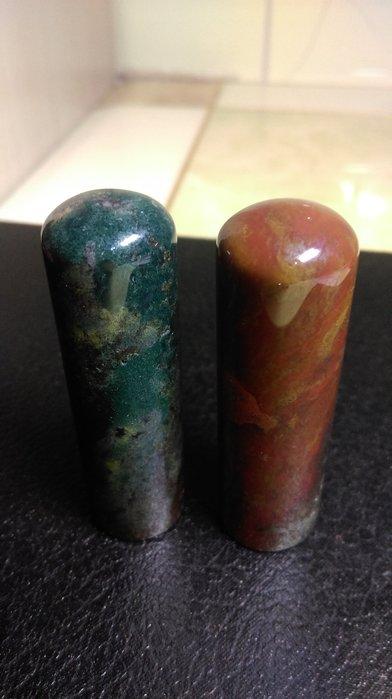 天然  鬆紋七彩水草玉髓   印石  圓印  一組2顆  R5