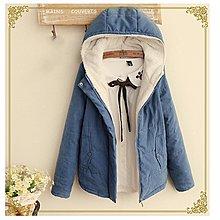 【11866】外套  日系森女系素色加絨連帽長袖外套。☆*藍荳荳小舖*☆(現貨)