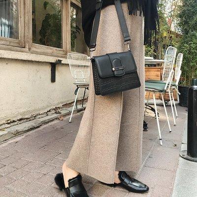 【Strawberry】綿羊毛墜感闊腿褲女冬直筒2018新款冬季復古針織褲高腰休閑褲