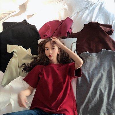 純色寬松圓領打底衫女春裝新款韓版洋氣上衣學生休閒短袖T恤