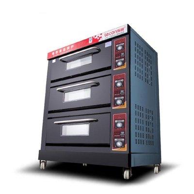 220V 樂創大型面包烤爐 三層六盤電烤箱 蛋糕面包披薩商用烤箱蛋撻烘爐