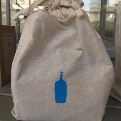哈哈日貨小鋪~東京 代購 藍瓶 blue bottle 棉麻束口袋 (大尺寸)