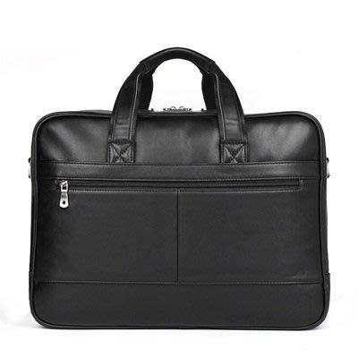 手提 包 真皮公事包-黑色牛皮17吋電腦包男包包73ur1[獨家進口][米蘭精品]