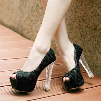 ~Linda~韓版超高跟單鞋女公主夜店高跟魚嘴粗跟鞋子網紗防水台水晶跟鞋潮