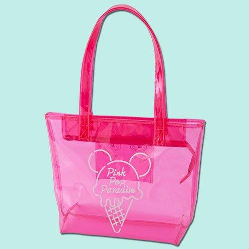 ArielWish預購日本東京迪士尼2019夏季慶典園遊會夏天海灘花火節戲水節霜淇淋冰淇淋桃紅粉紅透明肩背包托特包海灘包
