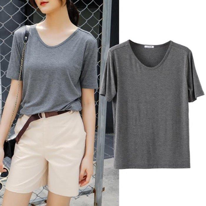 短袖女2019新品夏季寬鬆上衣大碼莫代爾T恤韓版學生v領半袖打底衫BBXZ17792