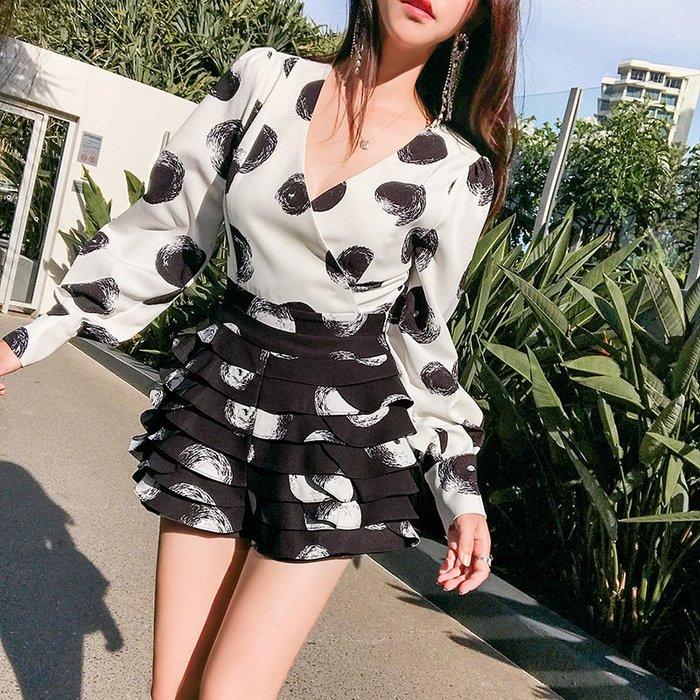 《巴黎拜金女》黑白撞色波點褲套裝高腰顯瘦修身女神洋氣連體褲子