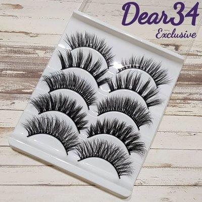 《Dear34》5款綜合立體濃密3D-55硬梗眼中長眼尾加長假睫毛不同款五對入cosplay歐美捲翹