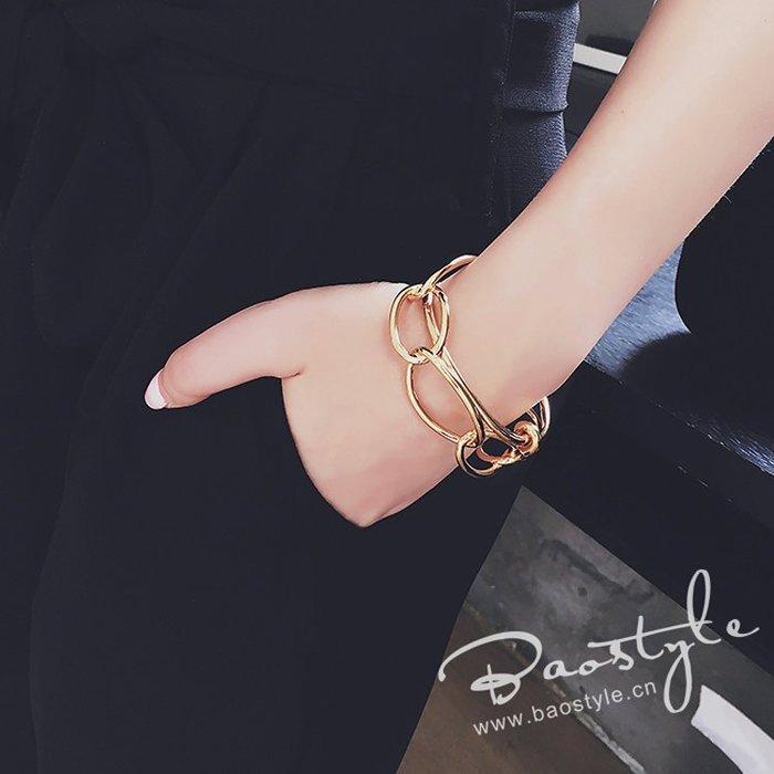 璟瑄飾品 日韓新款重金屬風打結開口手鐲 大小圓環相扣個性手鐲 手環
