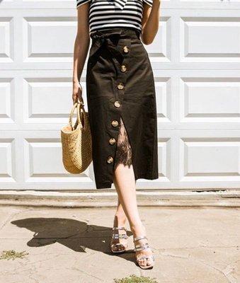 網路品牌 ROCKSTEADY 全新 正韓蕾絲拼接排釦窄裙 黑色