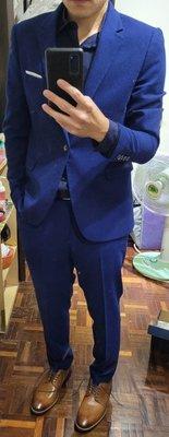 正式 合身 剪裁西裝 成套(外套52+褲子32腰) 深寶藍色 婚宴  id剪裁男仕西服 id tailor購入