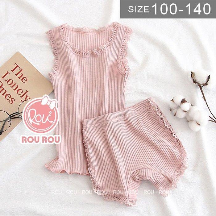 韓版女童背心套裝。ROUROU童裝。夏女童中小童95%棉螺紋蕾絲背心短褲套裝 0227-108