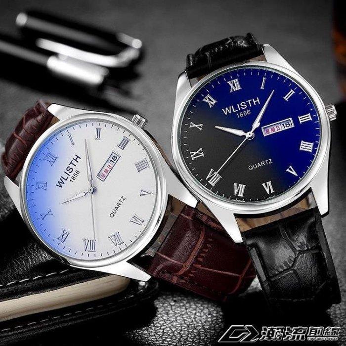 時尚手錶男女學生防水夜光情侶手錶鋼帶皮帶石英錶單買非一對
