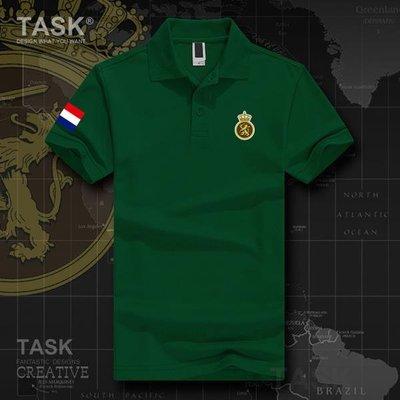 TASK 陸軍Netherlands荷蘭特種部隊男女翻領POLO衫純棉短袖運動t恤