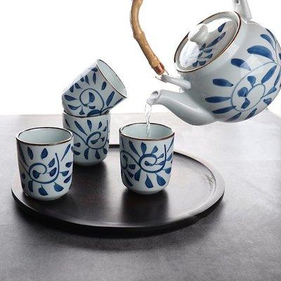爆款酒具日式復古手繪鉤藤提梁壺茶具套裝家用簡約陶瓷茶壺茶杯一壺四杯