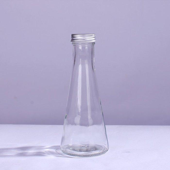 鋁蓋錐型玻璃瓶 350ml 花茶瓶 ☆ VITO zakka ☆ 浮游花瓶 許願瓶 儲物瓶 冷泡茶玻璃瓶