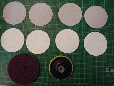 4吋砂輪機也可當清洗機-及砂紙機-搭配黃色4自黏式橡膠磨盤(魔鬼氈)M10(標準牙)+魔鬼氈) 自黏菜瓜布+8片砂紙