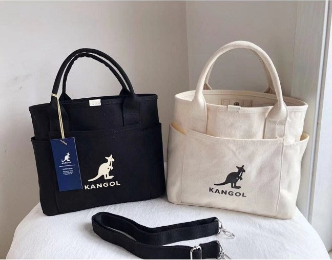 KANGOL㊣袋鼠 新款帆布單肩包 手提包 小方包 肩背包 側背包 斜挎包 斜背包 單肩斜挎手提包兩用包 托特包 購物袋
