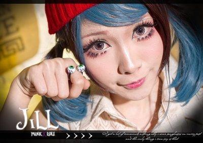 Oo吉兒oO【JK6019】街頭龐克搖滾古著zipper 雙眼球環抱造型中性可調整戒指 punk 停產絕版 特價