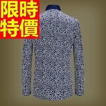 中山裝 唐裝 男外套-刺繡針織修身男西裝外套65e12[獨家進口][米蘭精品]