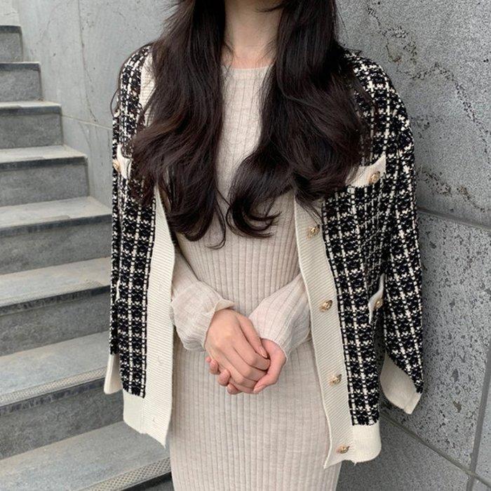 Modem Girl♥100%實拍 正韓 推薦!超好看的~氣勢小香格紋針織外套