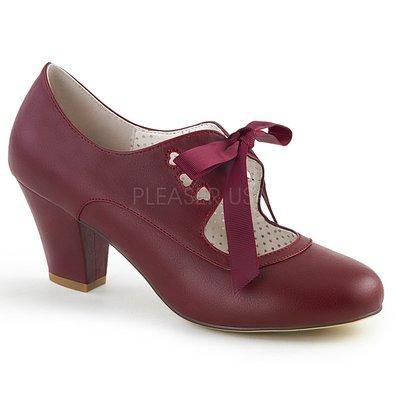 Shoes InStyle《二吋》美國品牌 PIN UP CONTURE 原廠正品瑪莉珍絲帶低跟包鞋 有大尺碼『酒紅色』