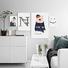 北歐現代簡約可愛小熊笑臉字母兒童房客廳裝飾畫畫芯高清微噴繪(不含框)