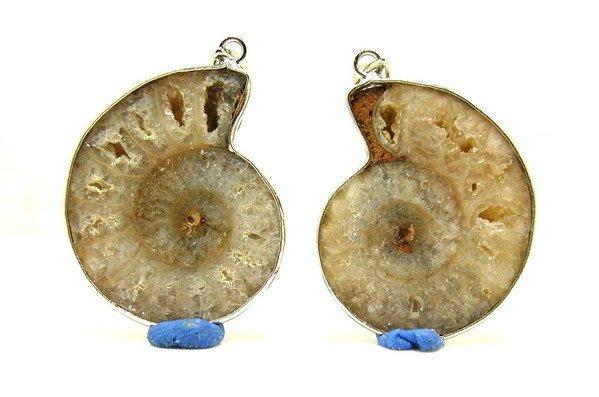 小風鈴~天然高檔包框剖半斑彩螺化石墜子 一對(重11.8g)情侶墜*夫妻墜