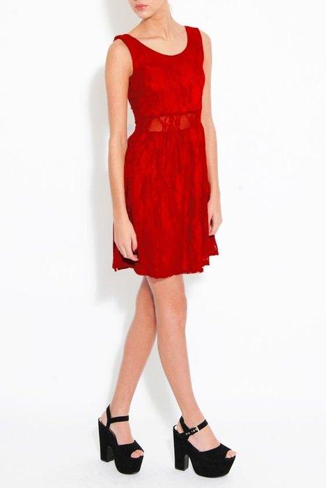 英國製 現貨UK 10 紅色. 英國品牌Rare London 蕾絲腰部簍空傘狀裙襬洋裝禮服