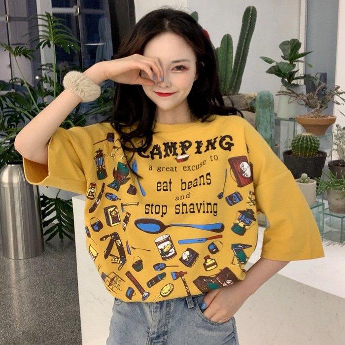 乾一 款春夏韓版女裝學生寬松百搭顯瘦印花短袖t恤打底衫半袖上衣