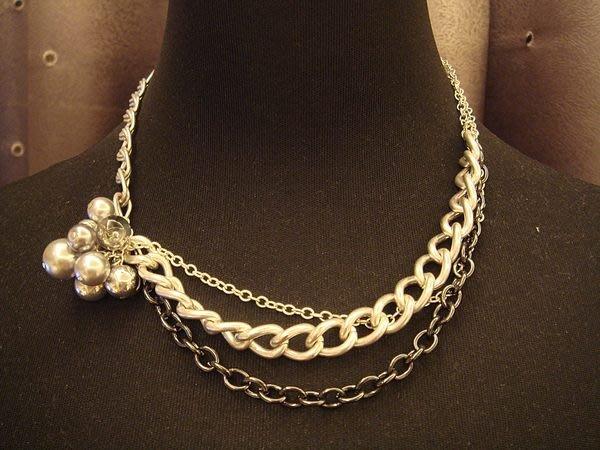大降價!全新美國帶回,美國名牌 Kenneth Cole  高質感銀色珠花造型項鍊,低價起標無底價!本商品免運費!