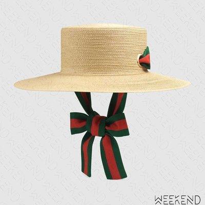 【WEEKEND】 GUCCI Papier Wide Brim 編織 緞帶 帽子 草編帽 米色 577012