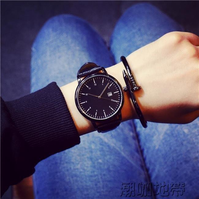 手表女學生韓版簡約男休閒歐美大氣大表盤時尚中性