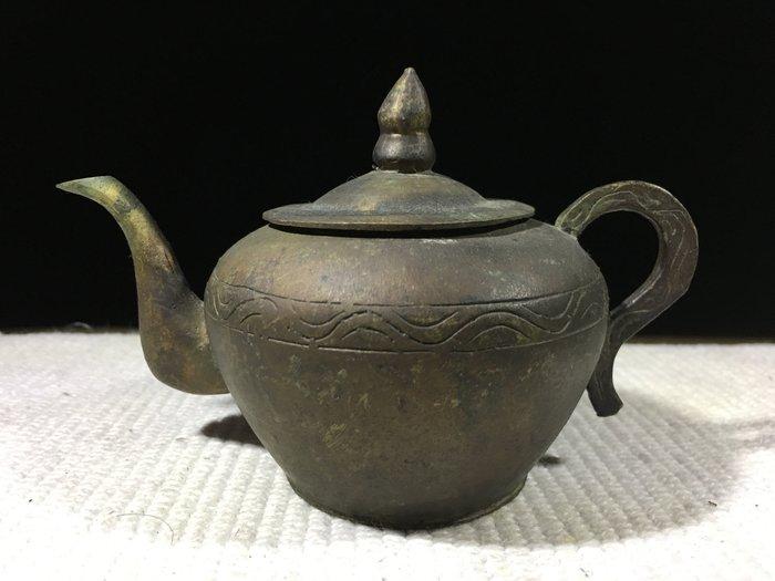 早期收藏古早文物-手工打造-青銅雕製品-銅茶壺