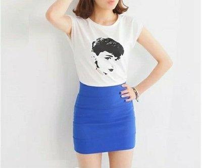 琳達購物中心-實品拍攝-高品質藍色均碼高腰顯瘦百搭毛呢包臀裙