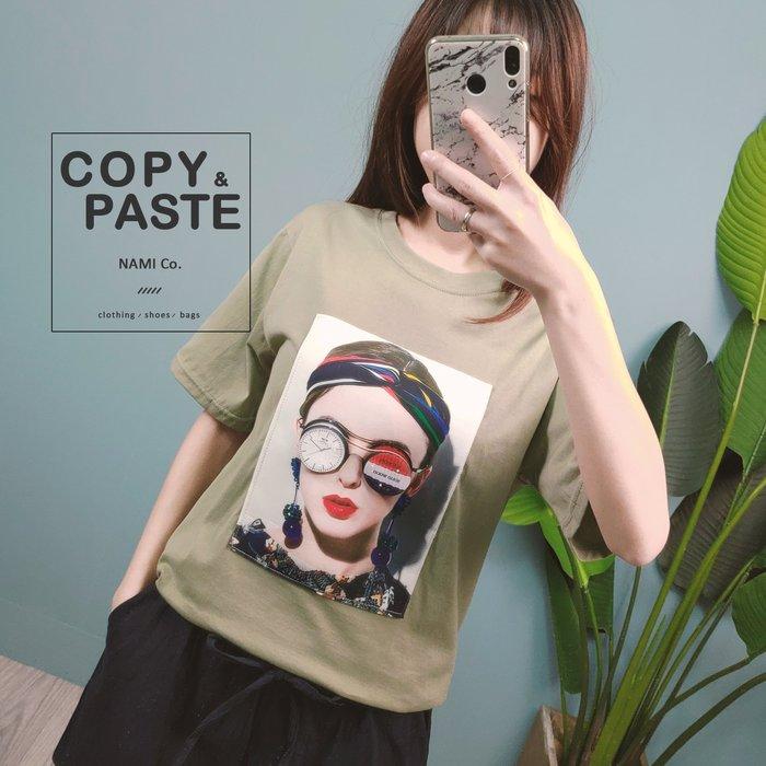 Copy&Paste【現貨】韓製.立體3D眼鏡歐美髮帶紅唇女孩短袖T恤上衣 綠色 韓國設計款 新品特價 休閒寬鬆 實拍