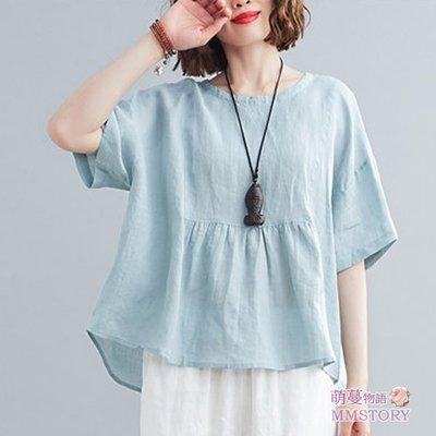 日系夏季就是要穿純色抓摺棉麻衫 娃娃衫 萌蔓物語 【KX3022】韓氣質女上衣