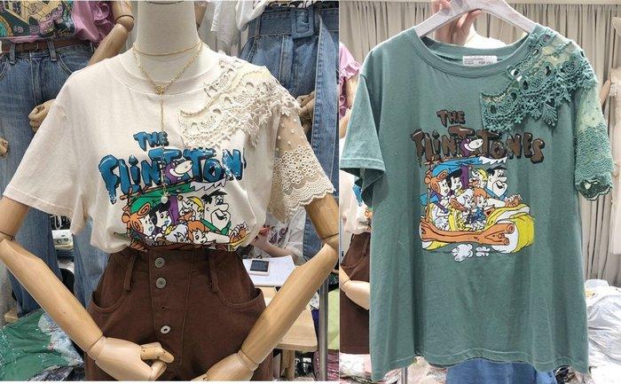 ❤Pink&Angel❤【64269】韓版鈎花縷空寬鬆港風卡通印花字母百搭短袖T恤。2色。現+預
