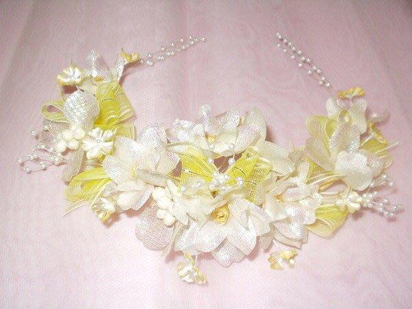 B. & W. world *美美的花飾*R13325*淺黃色、白色、淺粉、粉桃色小玫瑰花*多用途 *俏麗佳人