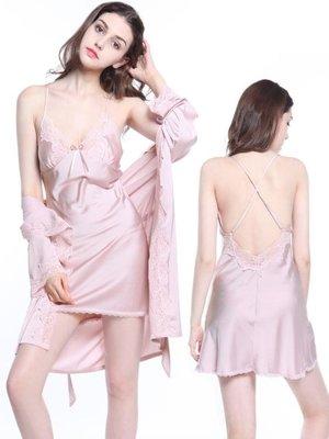 睡衣女夏季性感吊帶裙兩件套 女士短袖冰絲絲綢睡袍蕾絲套裝睡裙