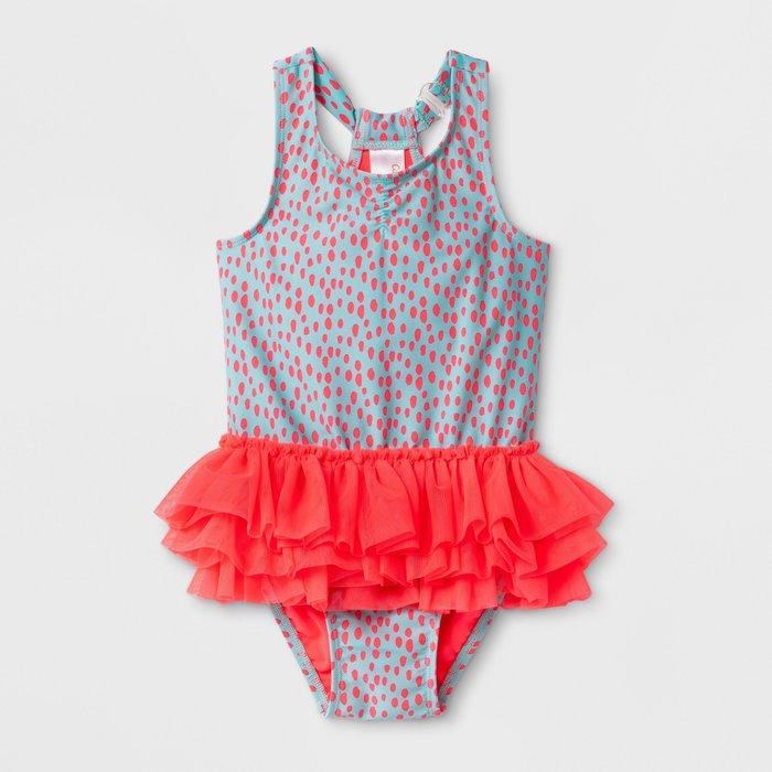 美國進口🇺🇸百貨品牌 女童泳衣 / 女童泳裝・防曬 抗UV 連身泳衣 [ 螢光仙子]